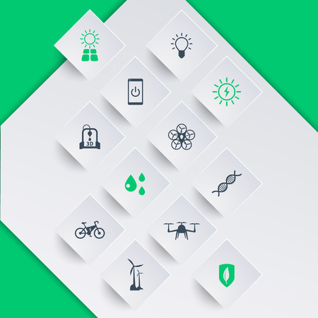 ecologic: Green ecologic new technologies, icons on square shapes, vector illustration, eps10, easy to edit Illustration
