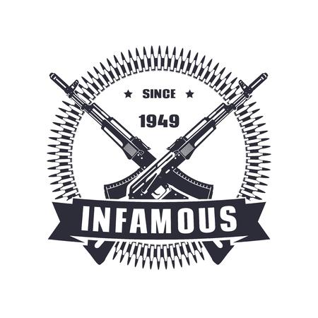 infamous: vintage emblem, sign, t-shirt design, print, infamous since 1949 vector illustration, eps10, easy to edit Illustration