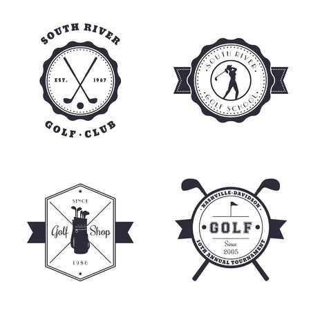 school activities: Golf Club, School, Shop, Tournament vintage emblems, logos, vector illustration, eps10, easy to edit Illustration