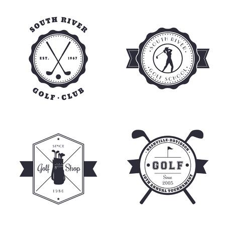 Golf Club, School, Shop, Tournament vintage emblems, logos, vector illustration, eps10, easy to edit Illustration