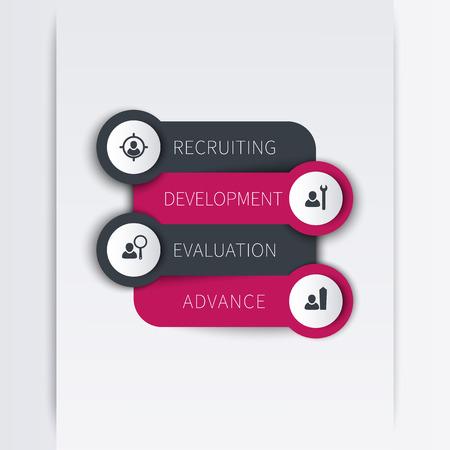 employee development: Staff, employee development, infographic elements, steps, vector illustration, eps10, easy to edit