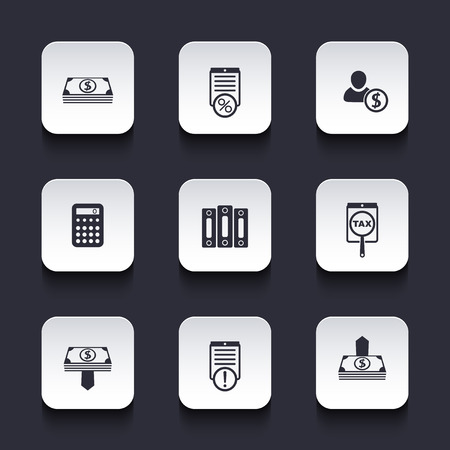 payroll: Bookkeeping, finance rounded square icons, vector illustration, eps10, easy to edit Illustration