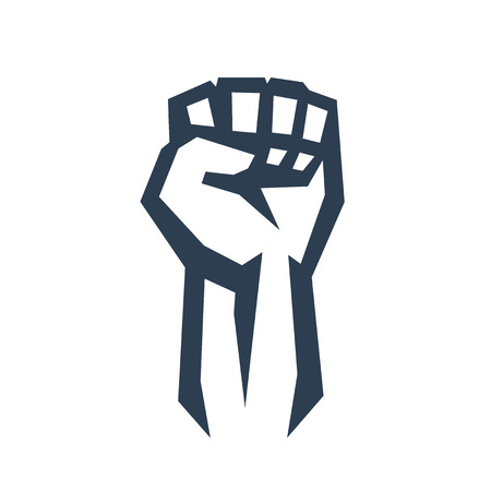 clenched: Fist held high in protest, vector illustration, eps10, easy to edit