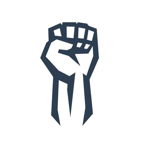 puÑos: Puño en alto en señal de protesta, ilustración vectorial, eps10, fácil de editar