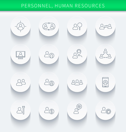 Kadr, zasoby ludzkie, HR, personel, cienkie liniowe okrągłe ikony, ilustracji wektorowych, eps10, łatwe do edycji
