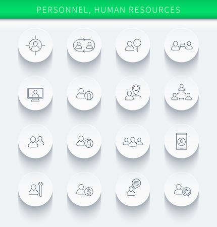 Personeel, Human resources, HR, personeel, dunne lineaire ronde iconen, vector illustratie, eps10, gemakkelijk te bewerken
