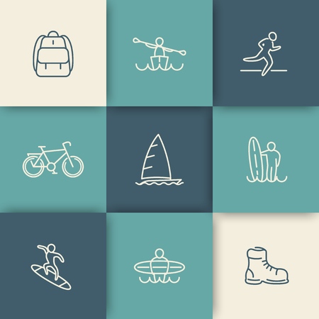 surf silhouettes: Travel, adventure, surfing, linear icons set, vector illustration, eps10, easy to edit