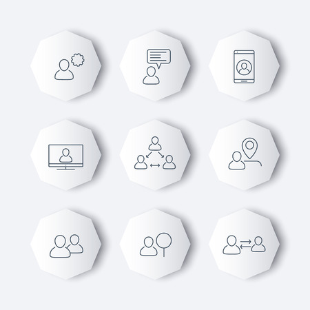 delegation: business icons with people, linear, octagon, vector illustration, eps10, easy to edit Illustration