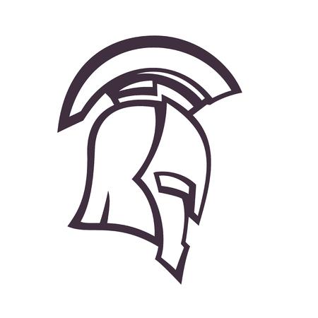 spartan helmet, side view, vector illustration, eps10, easy to edit