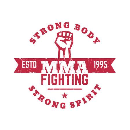 high spirits: MMA Fighting logo, emblem, t-shirt design, with grunge texture, vector illustration, eps10, easy to edit Illustration