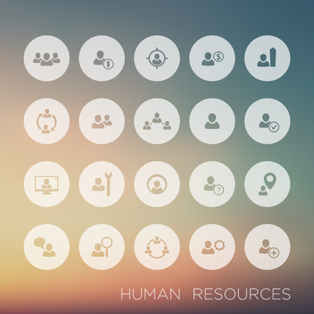 Personnel management, human resources, HR, round icons, vector illustration, eps10, easy to edit