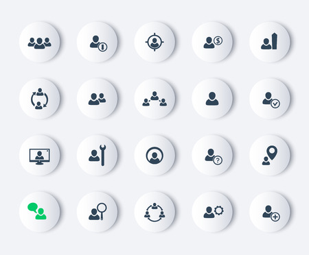 recursos humanos: recursos humanos, gestión de recursos humanos, gestión de personal, iconos modernos redondos, ilustración vectorial, eps10, fácil de editar