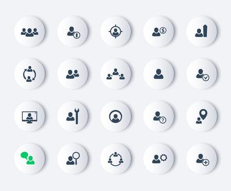 Ressources humaines, HRM, gestion du personnel, icônes modernes rondes, illustration vectorielle, eps10, facile à modifier