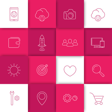 download icon: Thin linear web icons on geometric background, vector illustration, eps10, easy to edit