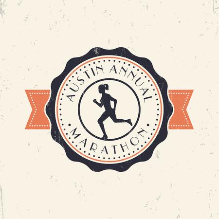 mujer golpeada: Emblema de la vendimia marat�n, logotipo con el funcionamiento de la muchacha, ilustraci�n vectorial, eps10, f�cil de editar Vectores