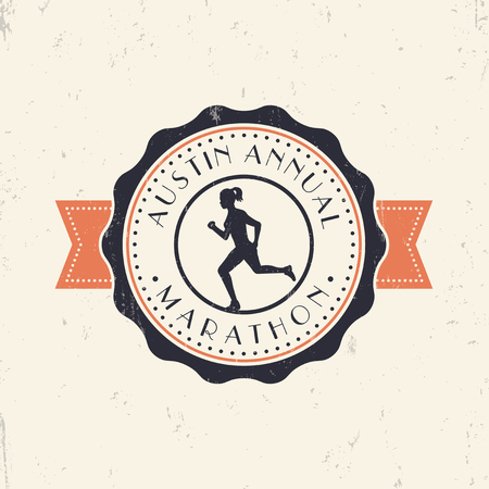 battered: Marathon vintage emblem, logo with running girl, vector illustration, eps10, easy to edit