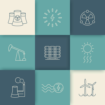 production of energy: Power, energy production, electric industry, line icons on geometric background, vector illustration, eps10, easy to edit
