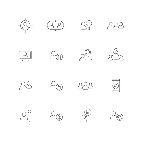 Personnel, Human resources, HR, staff, line icons, vector illustration, eps10, easy to edit