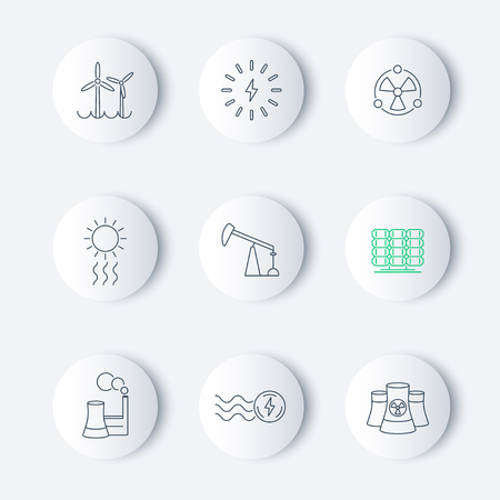 power station: Power, energy production, electric industry, linear round icons, vector illustration, eps10, easy to edit Illustration