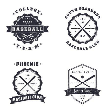 batch: Baseball vintage grunge emblems, logo, t-shirt design, vector illustration, eps10, easy to edit Illustration