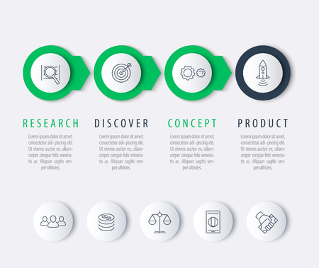 Product development, infographic elements, step labels, round line icons, vector illustration