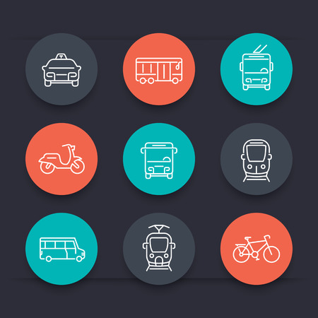 trolleybus: City transport, tram, train, bus, bike, taxi, trolleybus, line round icons, vector illustration Illustration