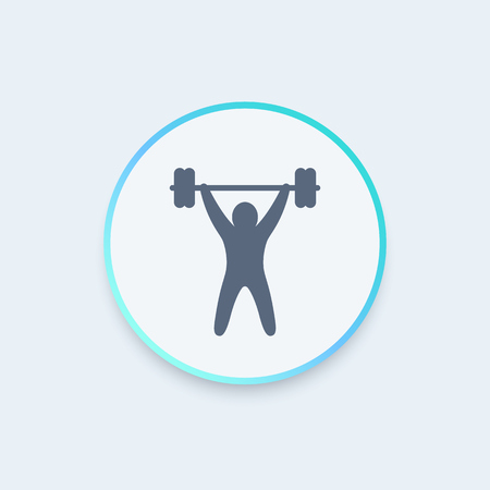 strength training: strength training round icon, workout icon, gym sign, fitness logo element, vector illustration Illustration