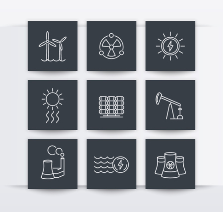 nuke plant: Power, energy production, energetics, electric industry, line square icons, vector illustration