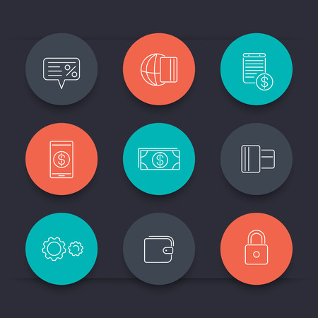 methods: Payment methods, types linear round color icons, vector illustration