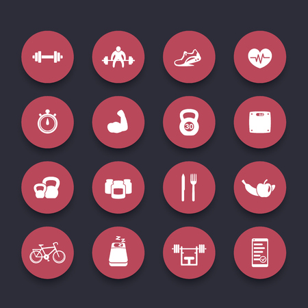 circular muscle: 16 fitness, gym, sport, workout, healthy living round red icons, vector illustration