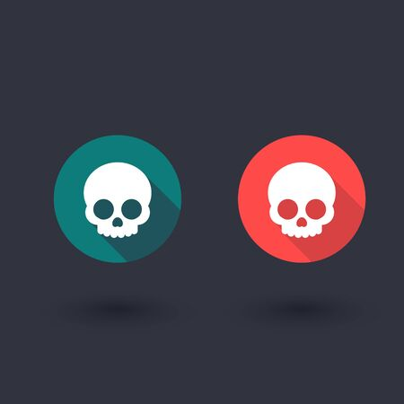 danger skull: skull, flat round icon, vector illustration Illustration