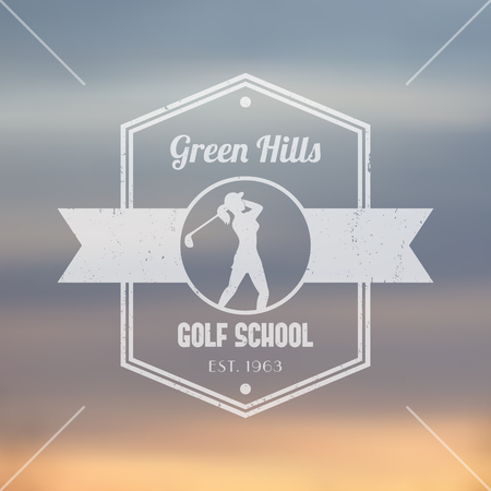 swinging: Golf school transparent logo, badge, with girl golfer, female golf player swinging club, vector illustration