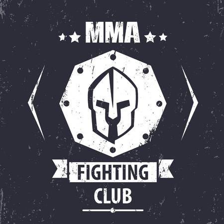 fighting styles: MMA Fighting Club grunge emblem with spartan helmet, t-shirt print, vector illustration Illustration