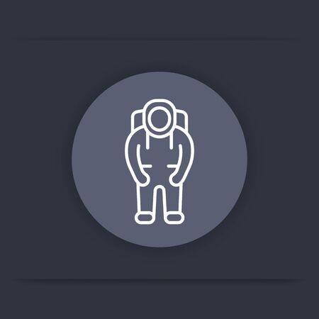 space suit: Astronaut line icon, space suit round icon, vector illustration Illustration