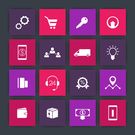 e store: E-commerce, online store, shop square icons set, vector illustration