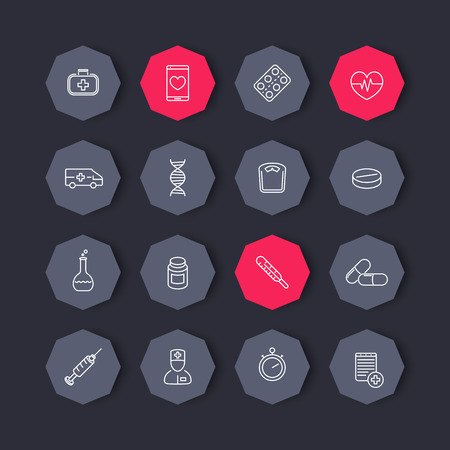 pharmaceutics: medicine, health care, pharmaceutics line icons, octagon set, vector illustration Illustration