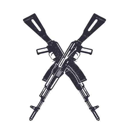 assault: Assault rifle crossing silhouettes over white, vector illustration