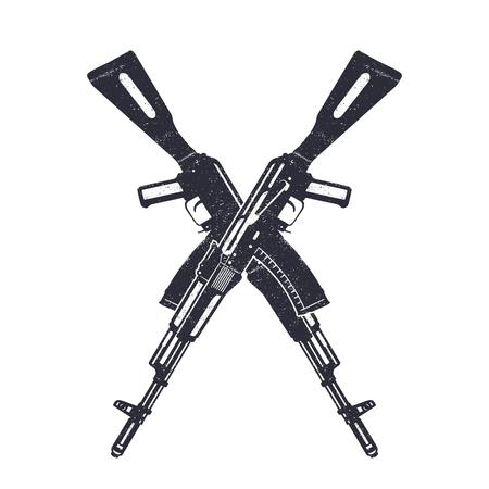 Assault rifle kruising silhouetten op wit, vector illustratie