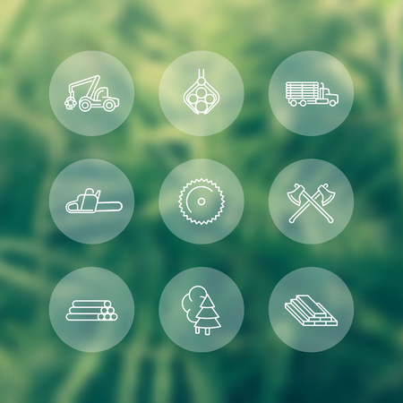 logging: Logging, Forestry, Timber, Tree Harvester, Sawmill, logging truck, line round white icons, vector illustration