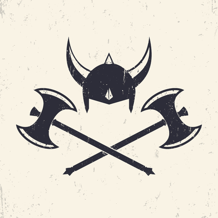 Vikings Helmet and crossed viking battle axes, vector illustration Ilustração
