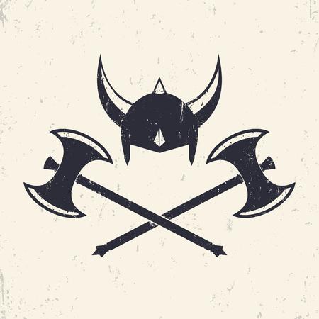 axes: Vikings Helmet and crossed viking battle axes, vector illustration Illustration