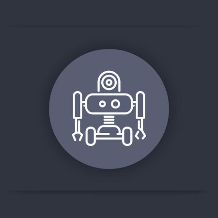 construction sign: Robotics line round icon, robot, mechanical engineering, vector illustration Illustration