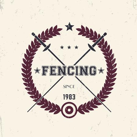 pommel: Fencing vintage emblem, logo with crossed foils, vector illustration