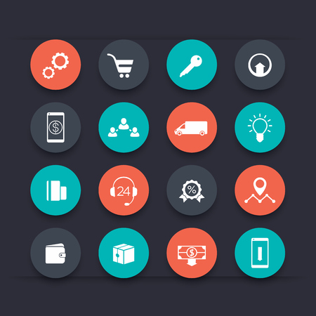 E-commerce, online shopping round color icons, vector illustration