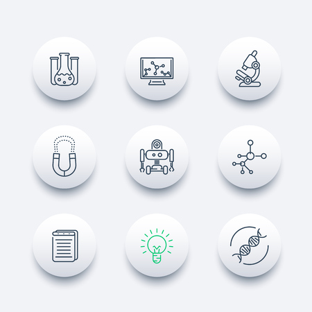 Science line round modern icons, laboratory, chemistry, physics, biology, research icon, vector illustration