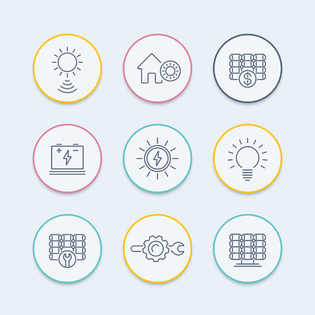 Solar energy line icons, solar power, panels, plant, round icons set