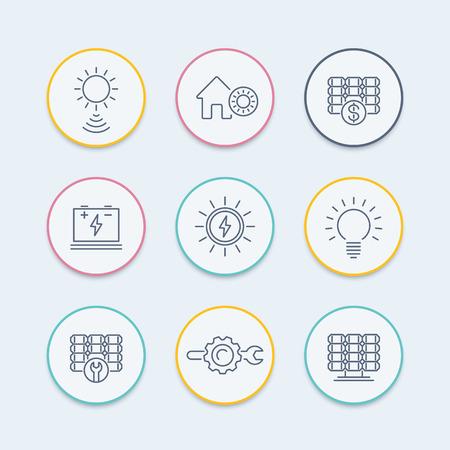 Solar energy line icons, solar power, panels, plant, round icons set
