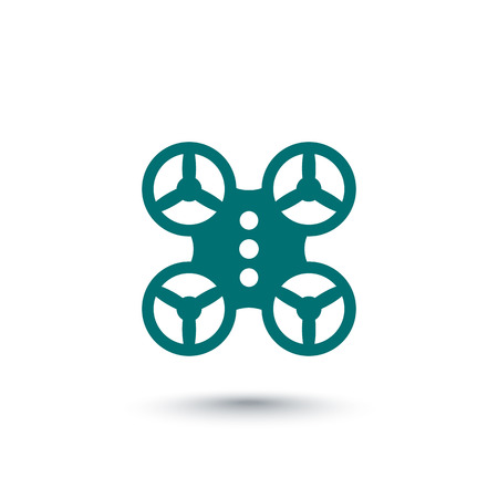 over white: Quadrocopter, drone icon isolated over white