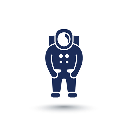 spaceman: Astronaut icon, spaceman, space suit isolated over white