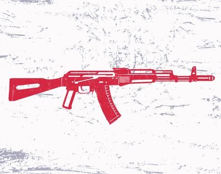 vintage rifle: assault rifle, gun, on grunge background, vector illustration Illustration